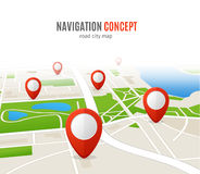 Navigation Concept Road City Map. Vector royalty free illustration