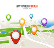 Navigation Concept Road City Map. Vector vector illustration