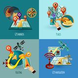 Navigation Concept Set. Navigation design concept set with gps markers places routing cartoon icons isolated vector illustration Stock Photos