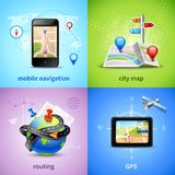 Navigation Concept Set. Navigation design concept set with gps routing city map icons isolated vector illustration Royalty Free Stock Images