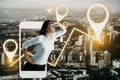 Navigation concept. Side view of european woman looking into the distance on abstract night city background with smartphone and glowing map pointers. Navigation Royalty Free Stock Photography