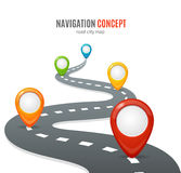 Navigation Concept. Vector. Navigation Concept. Road with Map Pins or Markers. Vector illustration Royalty Free Stock Photos