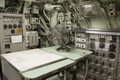 USS Albacore WWII submarine navigation controls Royalty Free Stock Images