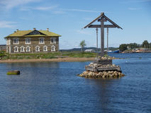 Navigation cross in the Wellbeing bay. Solovetsky Islands Royalty Free Stock Photos