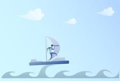 Navigation d'homme d'affaires sur le bateau regardant avec binoculaire sur le futur Chef Success Concept d'homme d'affaires d'occ Image libre de droits