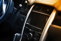 Navigation Dash. Car Dash / Central Console with Multimedia Center Display. Modern Vehicle Interior Design stock photos