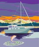 Navigation de bateau à voiles avec la truite Photos stock