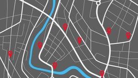 Navigation de GPS, carte de ville et de goupilles de GPS, vue supérieure clips vidéos