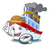 Navigation de luxe de bateau de caractère d'explorateur à mettre en communication illustration libre de droits