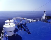 Navigation in deep blue. Ship's bow, mediterranean, Calm Stock Photography