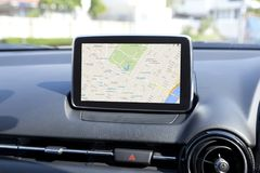 Navigation device in the car. Navigation device panel in the modern car royalty free stock images