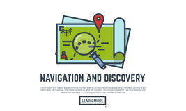 Navigation and discovery. Thin line vector illustration. Opened maps with route and marker. Magnifying glass Royalty Free Stock Photo