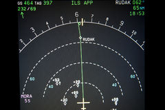 Navigation Display. Of an modern airliner with way points, other traffic (TCAS), Wind direction, Ground speed and true airspeed Royalty Free Stock Photography