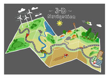Navigation doodle map. Colored navigation doodle map with objects. vector banner Stock Image