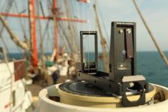 Navigation eines Segelschiffs Stockbild