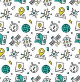 Navigation elements seamless icons pattern. Modern line icons seamless pattern texture of various navigation elements, global positioning system, satellite Stock Photography