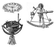 Navigation equipment, compass and sextant Stock Photography