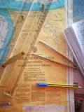 Navigation chart with navigation equipment stock images