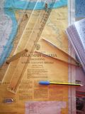 Navigation chart with navigation equipment royalty free stock photos