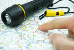 Navigation and flashlight Stock Images