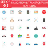 Navigation flat icon set, Transport signs Royalty Free Stock Photo