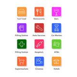 Navigation flat icons set. The illustration shows 12 vector icons that you can use for the Internet or electronic applications Stock Photos