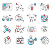Navigation and geolocation thin flat lines Stock Images