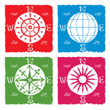 Navigation globe and compass. Icon rustic colored, red, blue, green and pink Stock Photography
