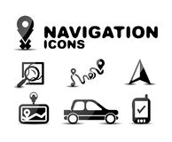 Navigation glossy black icon set Stock Photo
