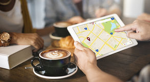 Navigation GPS Application Position Checking Concept Royalty Free Stock Images