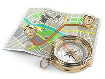 Navigation and gps concept. Compass and map. Stock Images