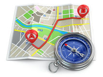 Navigation and gps concept. Compass and map. Royalty Free Stock Photography