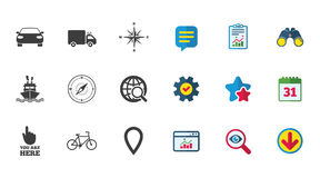 Navigation, gps icons. Windrose, compass signs. Navigation, gps icons. Windrose, compass and map pointer signs. Bicycle, ship and car symbols. Calendar, Report Stock Photography