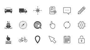 Navigation, gps icons. Windrose, compass signs. Navigation, gps icons. Windrose, compass and map pointer signs. Bicycle, ship and car symbols. Chat, Report and Royalty Free Stock Image