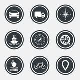 Navigation, gps icons. Windrose, compass signs. Navigation, gps icons. Windrose, compass and map pointer signs. Bicycle, ship and car symbols. Circle flat Royalty Free Stock Photos