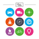 Navigation, gps icons. Windrose, compass signs. Navigation, gps icons. Windrose, compass and map pointer signs. Bicycle, ship and car symbols. Classic simple Royalty Free Stock Photography