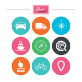 Navigation, gps icons. Windrose, compass signs. Navigation, gps icons. Windrose, compass and map pointer signs. Bicycle, ship and car symbols. Colorful flat Royalty Free Stock Photo
