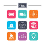 Navigation, gps icons. Windrose, compass signs. Navigation, gps icons. Windrose, compass and map pointer signs. Bicycle, ship and car symbols. Colorful flat Stock Images