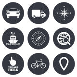 Navigation, gps icons. Windrose, compass signs Stock Image
