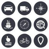 Navigation, gps icons. Windrose, compass signs. Navigation, gps icons. Windrose, compass and map pointer signs. Bicycle, ship and car symbols. Gray flat circle Stock Image