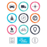 Navigation, gps icons. Windrose, compass signs. Navigation, gps icons. Windrose, compass and map pointer signs. Bicycle, ship and car symbols. Report document Royalty Free Stock Photo