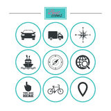 Navigation, gps icons. Windrose, compass signs. Navigation, gps icons. Windrose, compass and map pointer signs. Bicycle, ship and car symbols. Round flat Royalty Free Stock Photography