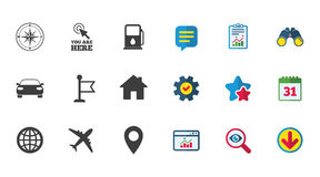 Navigation, gps icons. Windrose, compass signs. Navigation, gps icons. Windrose, compass and map pointer signs. Car, airplane and flag symbols. Calendar, Report Stock Image