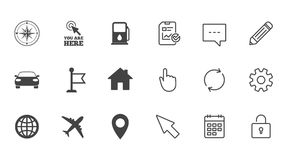 Navigation, gps icons. Windrose, compass signs. Navigation, gps icons. Windrose, compass and map pointer signs. Car, airplane and flag symbols. Chat, Report and Royalty Free Stock Photography