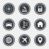 Navigation, gps icons. Windrose, compass signs. Navigation, gps icons. Windrose, compass and map pointer signs. Car, airplane and flag symbols. Circle flat Stock Photo