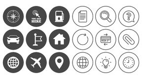 Navigation, gps icons. Windrose, compass signs. Navigation, gps icons. Windrose, compass and map pointer signs. Car, airplane and flag symbols. Document, Globe Royalty Free Stock Photos
