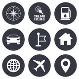 Navigation, gps icons. Windrose, compass signs Royalty Free Stock Photos