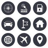 Navigation, gps icons. Windrose, compass signs. Navigation, gps icons. Windrose, compass and map pointer signs. Car, airplane and flag symbols. Gray flat circle Royalty Free Stock Photos