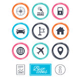 Navigation, gps icons. Windrose, compass signs. Navigation, gps icons. Windrose, compass and map pointer signs. Car, airplane and flag symbols. Report document Stock Photo