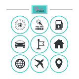 Navigation, gps icons. Windrose, compass signs. Navigation, gps icons. Windrose, compass and map pointer signs. Car, airplane and flag symbols. Round flat Stock Image